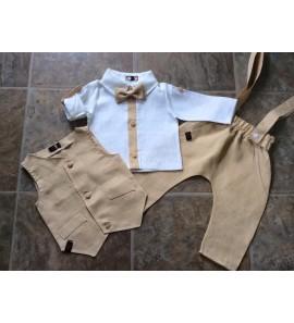 Smėlio spalvos lininis kostiumėlis