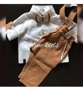 Rudas lininis kostiumėlis