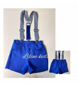Karališkos mėlynos spalvos lininiai šortukai