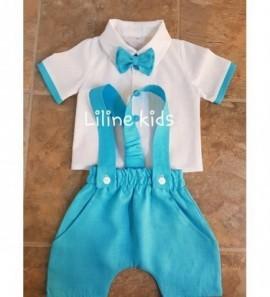 Lininiai sortukai ir marškinukai krikštynoms aqua spalvos