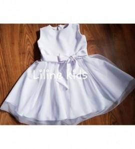 Balta minimaliai pusta barbie suknele krikštynoms