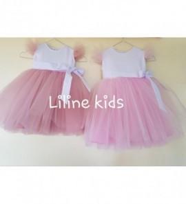 Pūsta tiulio suknelė rožinė ir pelenu rpdes spalvos