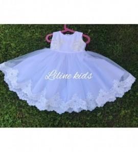 Pūsta tiulio suknelė dekoruota nerinuku