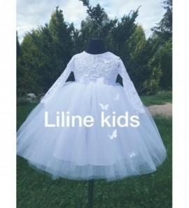 Pūsta tiulio suknelė ilgomis neriniuotomis rankovėmis